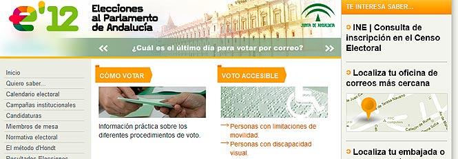 Web de las Elecciones al Parlamento de Andalucía 2012